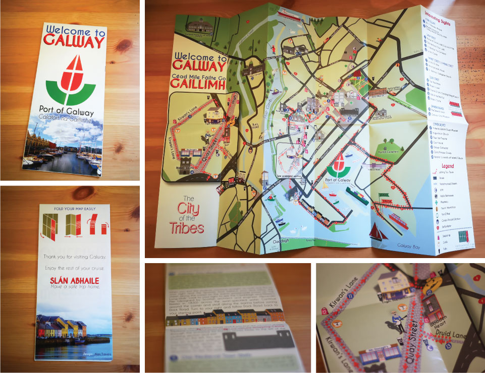 Galway Walking Tour Illustrated Map Graphic Design Galway